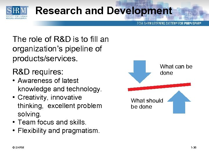 Research and Development The role of R&D is to fill an organization's pipeline of