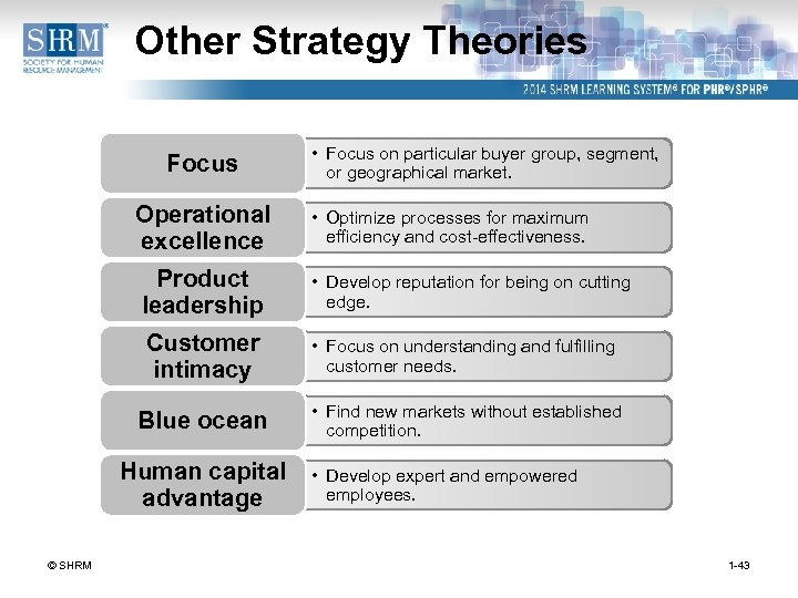 Other Strategy Theories Focus Operational excellence • Focus on particular buyer group, segment, or