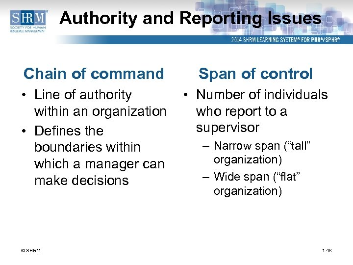 Authority and Reporting Issues Chain of command Span of control • Line of authority