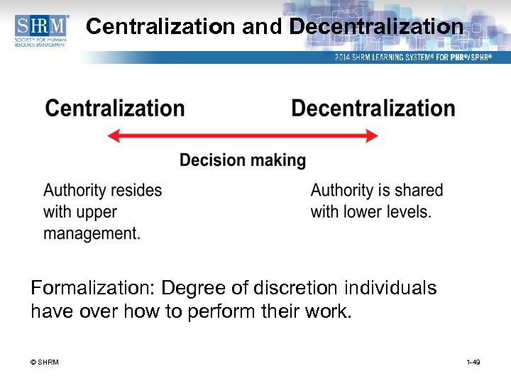 Centralization and Decentralization Formalization: Degree of discretion individuals have over how to perform their