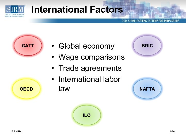International Factors GATT OECD • • Global economy Wage comparisons Trade agreements International labor