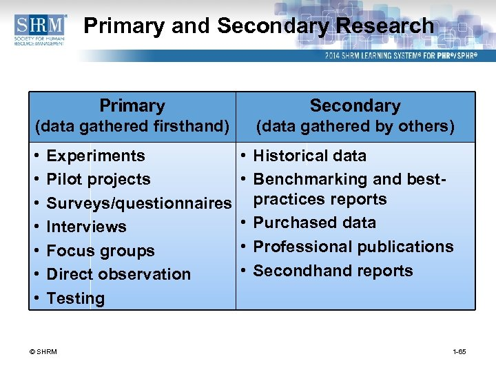 Primary and Secondary Research Primary Secondary (data gathered firsthand) (data gathered by others) •