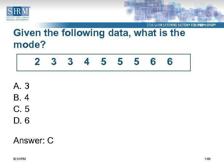 Given the following data, what is the mode? 2 3 3 4 5 5