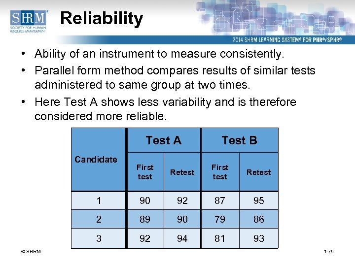 Reliability • Ability of an instrument to measure consistently. • Parallel form method compares