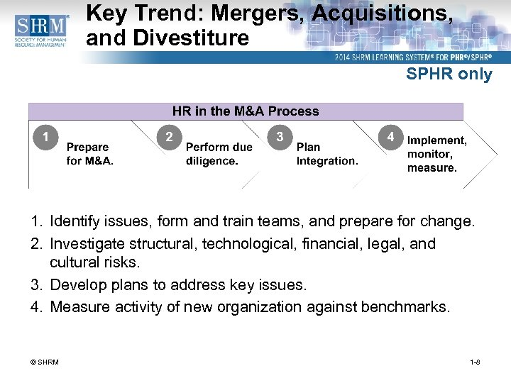 Key Trend: Mergers, Acquisitions, and Divestiture SPHR only 1. Identify issues, form and train