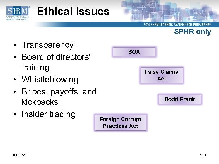 Ethical Issues SPHR only • Transparency • Board of directors' training • Whistleblowing •