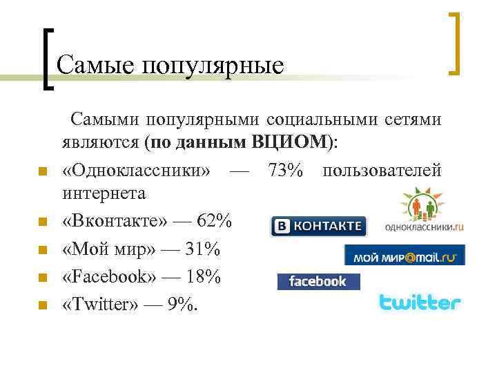 Самые популярные Самыми популярными социальными сетями являются (по данным ВЦИОМ): n «Одноклассники» — 73%