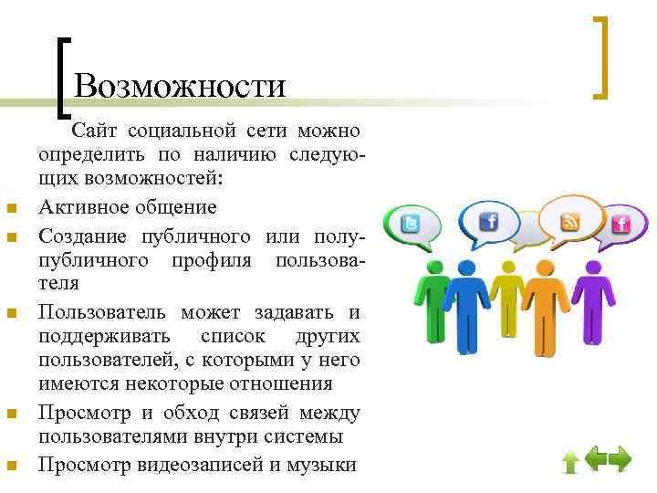 Возможности Сайт социальной сети можно определить по наличию следующих возможностей: n Активное общение n