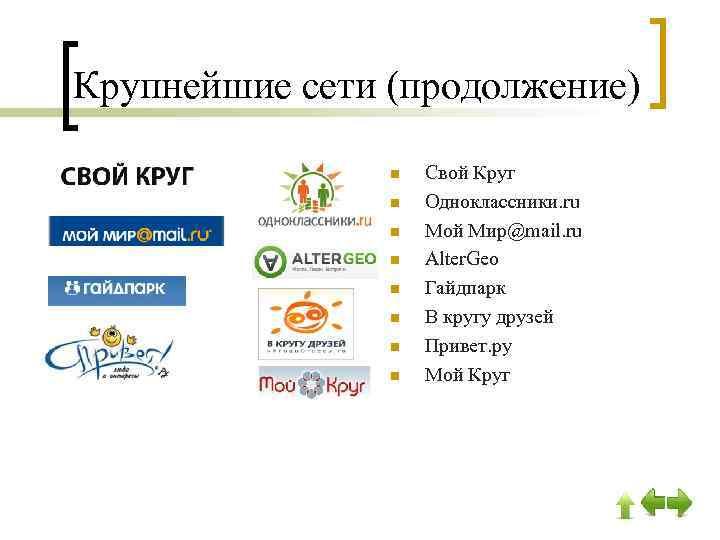 Крупнейшие сети (продолжение) n n n n Свой Круг Одноклассники. ru Мой Мир@mail. ru