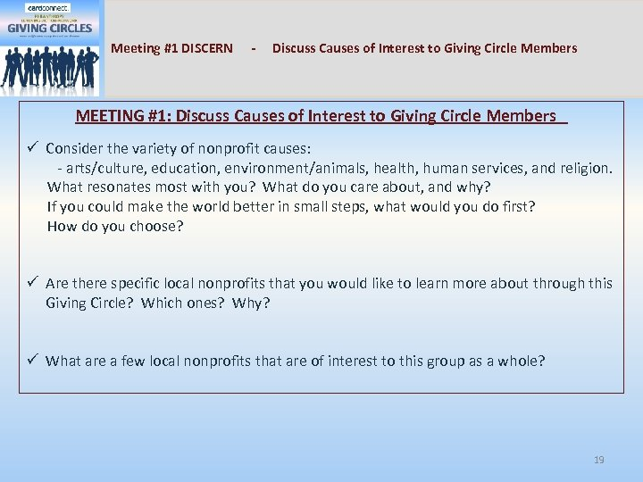 Meeting #1 DISCERN - Discuss Causes of Interest to Giving Circle Members MEETING #1: