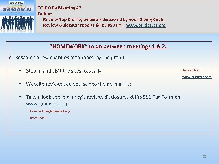 TO DO By Meeting #2 Online: Review Top Charity websites discussed by your Giving