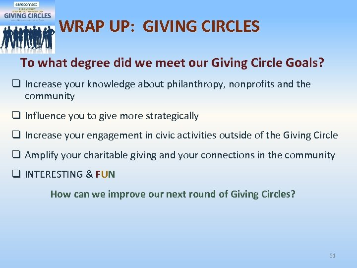 WRAP UP: GIVING CIRCLES To what degree did we meet our Giving Circle Goals?