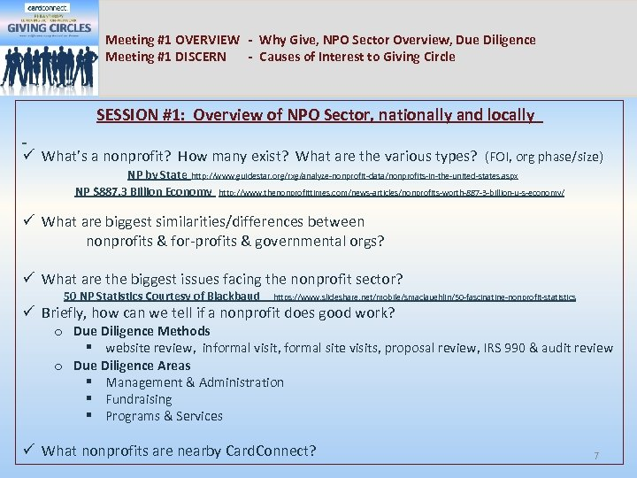 Meeting #1 OVERVIEW - Why Give, NPO Sector Overview, Due Diligence Meeting #1 DISCERN