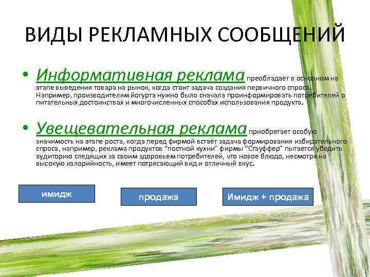 ВИДЫ РЕКЛАМНЫХ СООБЩЕНИЙ • Информативная реклама преобладает в основном на этапе выведения товара на