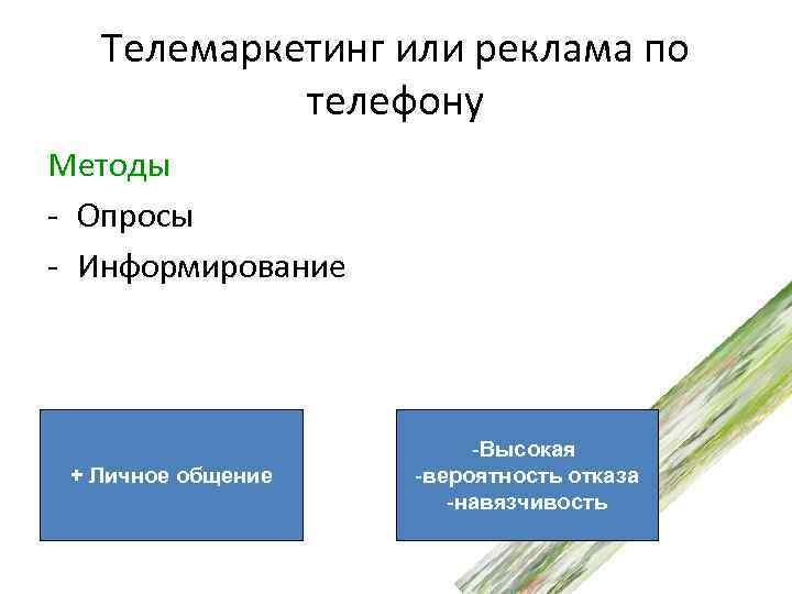 Телемаркетинг или реклама по телефону Методы - Опросы - Информирование + Личное общение -Высокая
