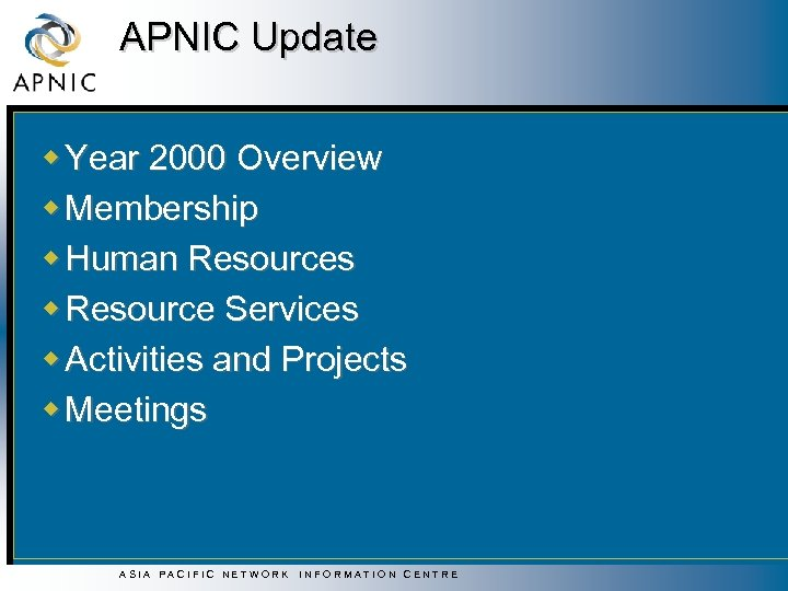 APNIC Update w Year 2000 Overview w Membership w Human Resources w Resource Services