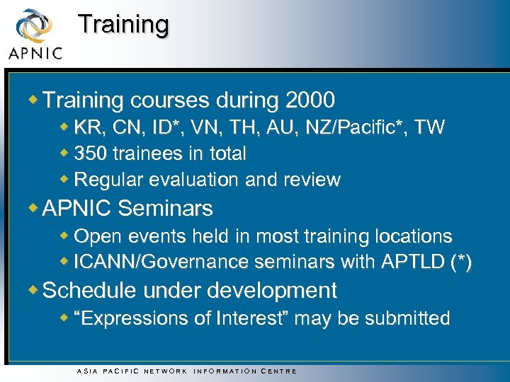 Training w Training courses during 2000 w KR, CN, ID*, VN, TH, AU, NZ/Pacific*,