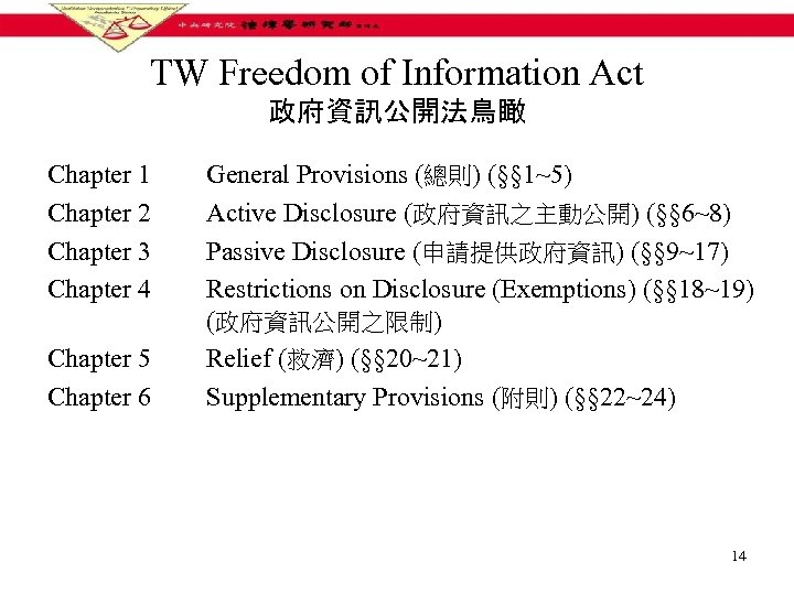 TW Freedom of Information Act 政府資訊公開法鳥瞰 Chapter 1 Chapter 2 Chapter 3 Chapter 4