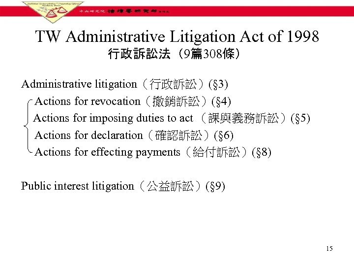 TW Administrative Litigation Act of 1998 行政訴訟法(9篇308條) Administrative litigation(行政訴訟)(§ 3) Actions for revocation(撤銷訴訟)(§ 4)
