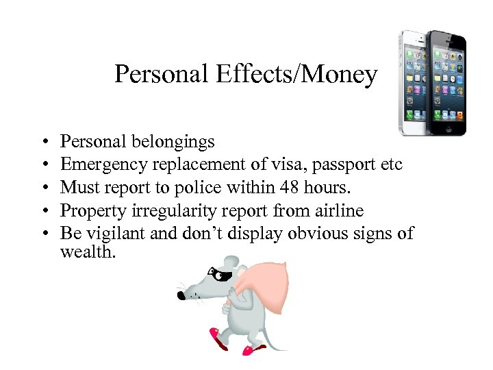 Personal Effects/Money • • • Personal belongings Emergency replacement of visa, passport etc Must