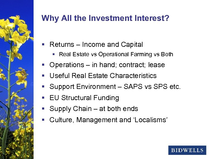 stewardship & prosperity Why All the Investment Interest? § Returns – Income and Capital