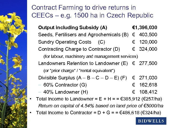 Contract Farming to drive returns in stewardship & prosperity CEECs – e. g. 1500