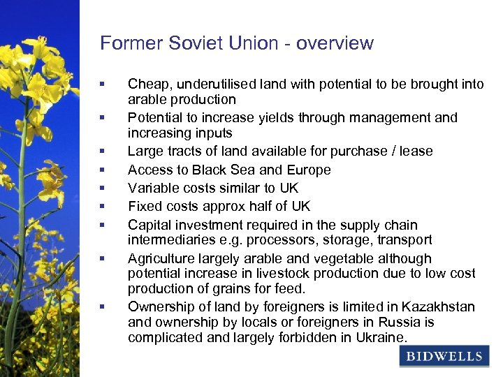 stewardship & prosperity Former Soviet Union - overview § § § § § Cheap,