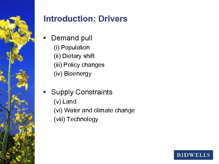 stewardship & prosperity Introduction: Drivers § Demand pull (i) Population (ii) Dietary shift (iii)