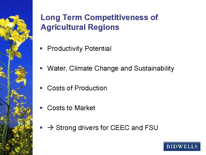 stewardship & prosperity Long Term Competitiveness of Agricultural Regions § Productivity Potential § Water,