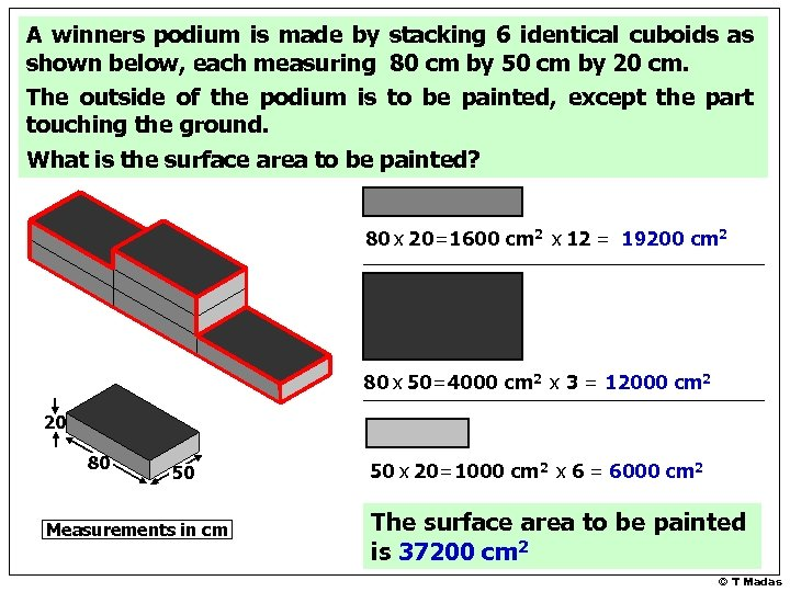 A winners podium is made by stacking 6 identical cuboids as shown below, each