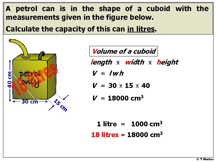 A petrol can is in the shape of a cuboid with the measurements given