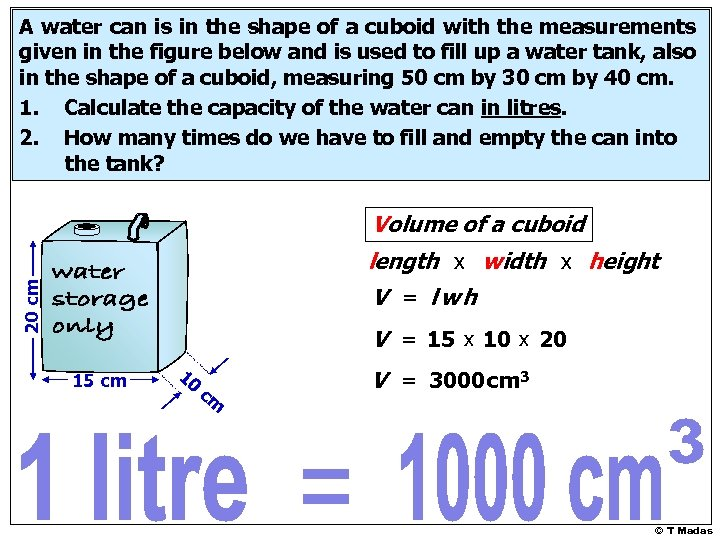 A water can is in the shape of a cuboid with the measurements given