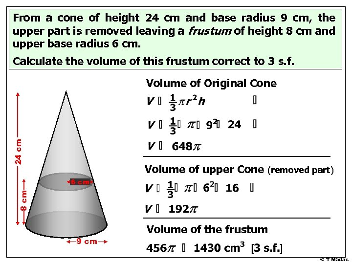 From a cone of height 24 cm and base radius 9 cm, the upper