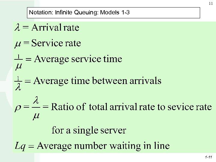 11 Notation: Infinite Queuing: Models 1 -3 1 -11