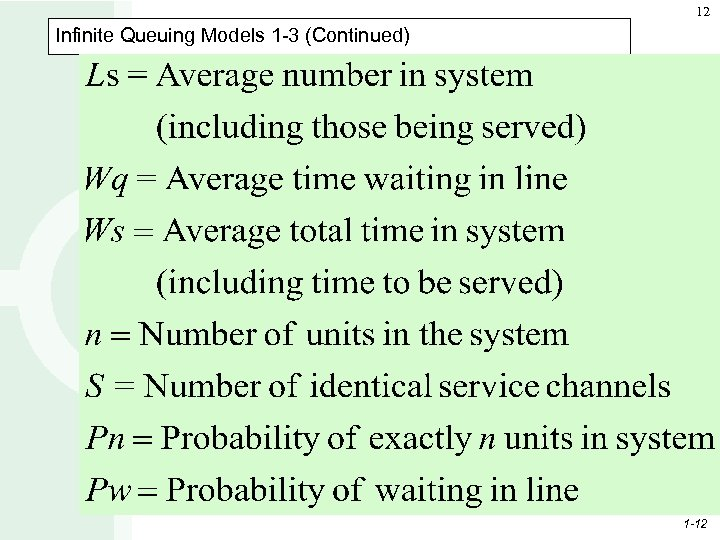 12 Infinite Queuing Models 1 -3 (Continued) 1 -12