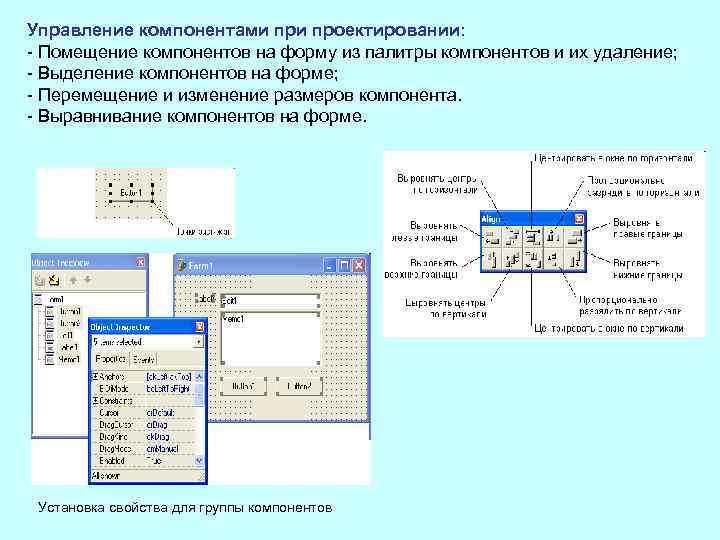 Управление компонентами проектировании: Помещение компонентов на форму из палитры компонентов и их удаление; Выделение