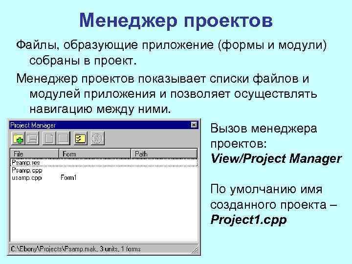 Менеджер проектов Файлы, образующие приложение (формы и модули) собраны в проект. Менеджер проектов показывает