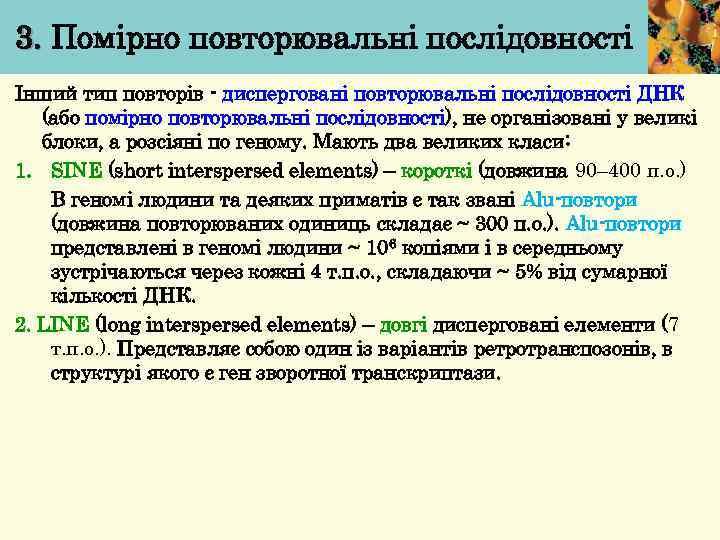 3. Помірно повторювальні послідовності Інший тип повторів - дисперговані повторювальні послідовності ДНК (або помірно