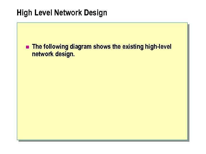 High Level Network Design n The following diagram shows the existing high-level network design.