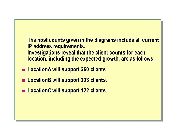 The host counts given in the diagrams include all current IP address requirements. Investigations