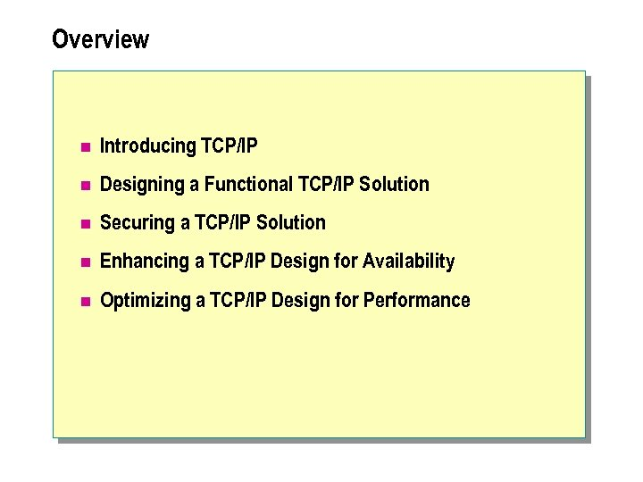Overview n Introducing TCP/IP n Designing a Functional TCP/IP Solution n Securing a TCP/IP