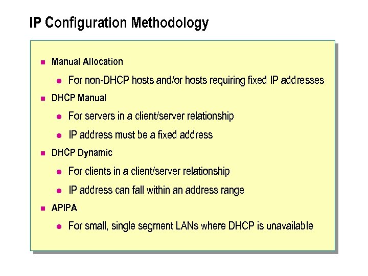 IP Configuration Methodology n Manual Allocation l n For non-DHCP hosts and/or hosts requiring