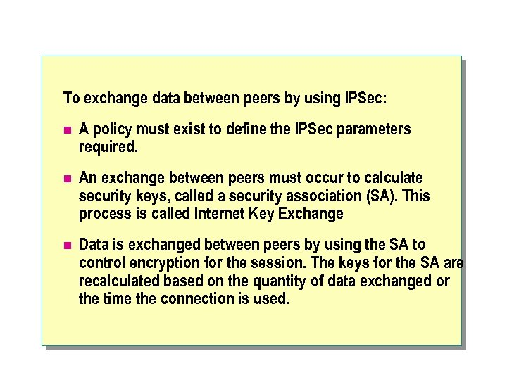 To exchange data between peers by using IPSec: n A policy must exist to