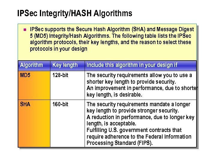 IPSec Integrity/HASH Algorithms n IPSec supports the Secure Hash Algorithm (SHA) and Message Digest