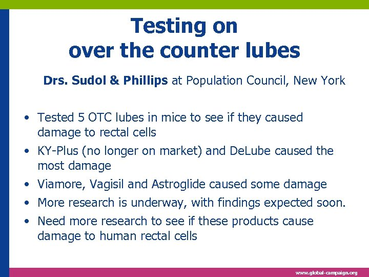 Testing on over the counter lubes Drs. Sudol & Phillips at Population Council, New