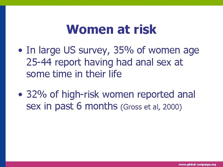 Women at risk • In large US survey, 35% of women age 25 -44