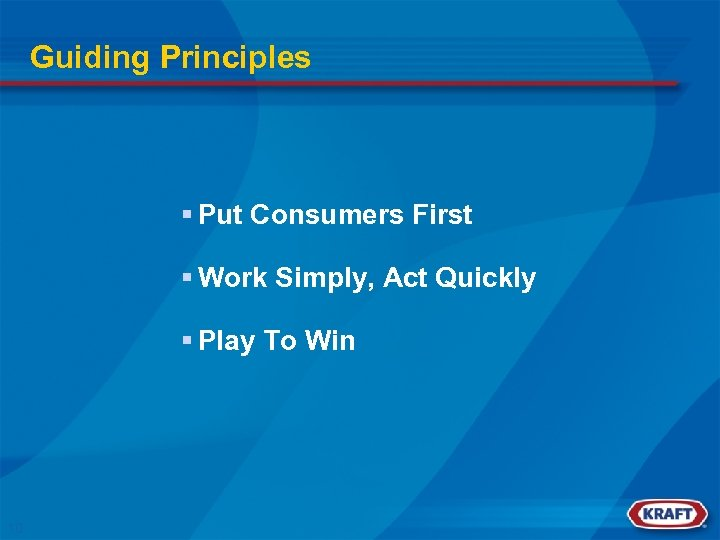 Guiding Principles § Put Consumers First § Work Simply, Act Quickly § Play To