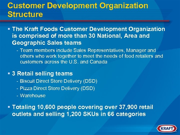 Customer Development Organization Structure § The Kraft Foods Customer Development Organization is comprised of