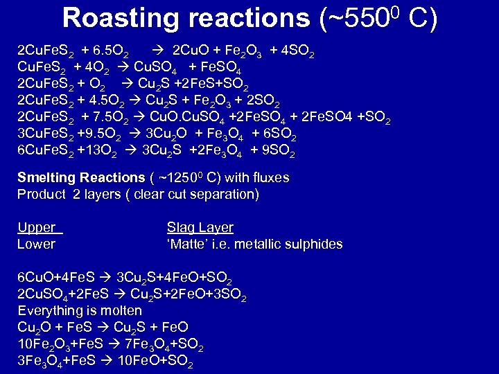 Roasting reactions (~5500 C) 2 Cu. Fe. S 2 + 6. 5 O 2