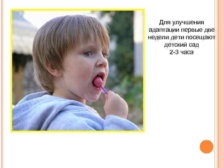 Для улучшения адаптации первые две недели дети посещают детский сад 2 -3 часа